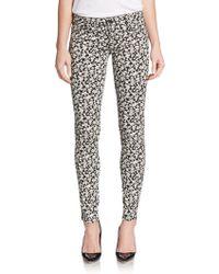Genetic Denim Shane Faux Front Floral-Print Skinny Jeans - Lyst