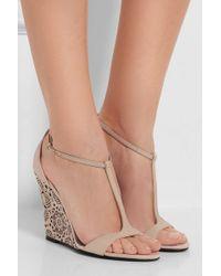 Burberry Prorsum | Laser-cut Leather Wedge Sandals | Lyst