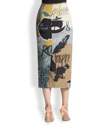 Burberry Prorsum Wool  Silk Poet-print Pencil Skirt - Lyst