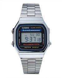 Casio A168Wa-1Wdf Digital Bracelet Watch - Silver - Lyst