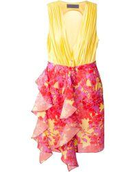 Emanuel Ungaro Printed Frilled Dress - Lyst