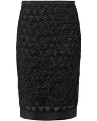 Elizabeth And James Cooper Embroidered Mesh Pencil Skirt - Lyst