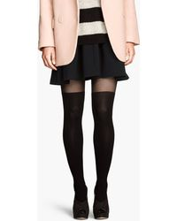 H&M Black Ribbed Tights - Lyst