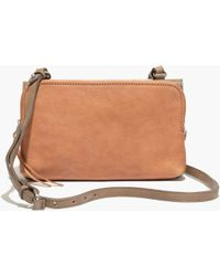 Madewell The Twin-Pouch Crossbody In Colorblock Washed Leather - Lyst