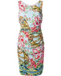 Dolce & Gabbana Floral Printed Dress blue - Lyst