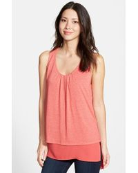 Pleione Double Layer Mixed Media Top pink - Lyst