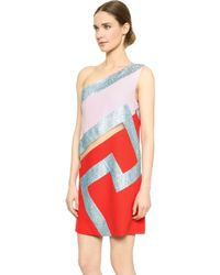 Versace One Shoulder Dress - Multi - Lyst