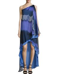 Halston Heritage One-Shoulder Striped Ombre Caftan Gown - Lyst