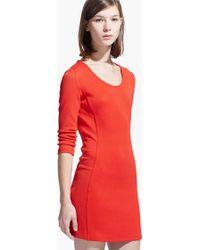 Mango Textured Bodycon Dress - Lyst