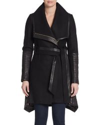 Badgley Mischka Leather Paneled Wrap Coat - Lyst