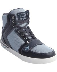 Original Penguin Navy And Blue Canvas And Leather 'Moby' High Top Sneakers - Lyst