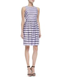 Lela Rose Full-skirted Striped Dress - Lyst