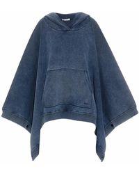 Chloé Stonewash Hooded Poncho Sweatshirt - Lyst