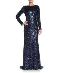 Badgley Mischka Sequined Long-sleeve Column Dress - Lyst