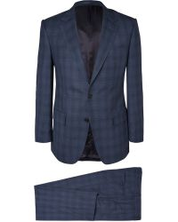 Gieves & Hawkes Navy Checked Wool Suit - Lyst