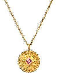 Satya Jewelry - 'mandala' Birthstone Pendant Necklace - October/ Pink Tourmaline - Lyst