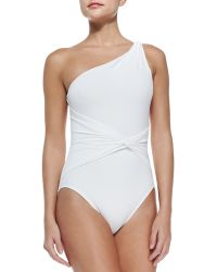 Michael Kors Draped Twisted One-Shoulder Swimsuit - Lyst