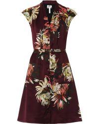 Erdem Oxana Silk-Satin Dress multicolor - Lyst
