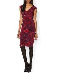 Ralph Lauren Lauren Dress  Cowlneck Floral Print - Lyst