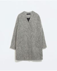 Zara Structured Collarless Coat - Lyst