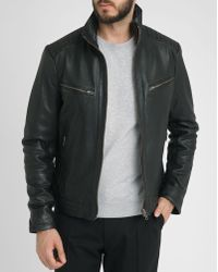 Ikks Black Zip-Neck Standing Collar Leather Bomber Jacket - Lyst