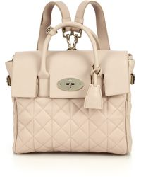 Mulberry Cara Delevingne Convertible Quilted Leather Satchel beige - Lyst