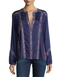 Townsen - Jens Embroidered Long-sleeve Top - Lyst