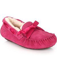 Ugg Dakota Shearling-Lined Snake-Embossed Suede Loafers pink - Lyst