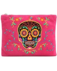 Charlotte Olympia Dead Nice Embroidered Suede Clutch - Lyst