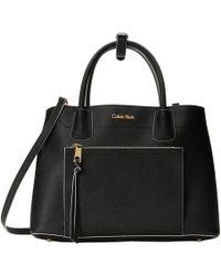 Calvin Klein Black Saffiano Satchel - Lyst