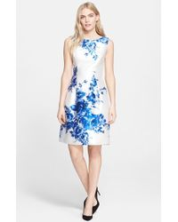 Lela Rose Flower Print Full Skirt Satin Sheath Dress - Lyst