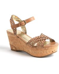 Ivanka Trump - Aubrie Leather Wedge Sandals - Lyst
