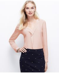 Ann Taylor Silk Ruffle Front Blouse - Lyst