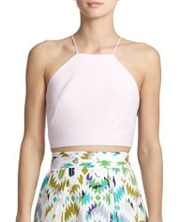 Milly Audrey Halter Cropped Top pink - Lyst
