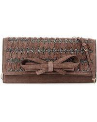 Valentino Embellished Suede Large Clutch Bag - Lyst