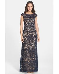Tadashi Shoji Embroidered Tulle Cap Sleeve Gown - Lyst