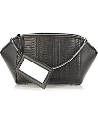 Alexander Wang Large Chastity Make-Up Case In Black Elaphe With Rhodium - Lyst