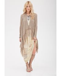 Forever 21 Fringed Open-Front Cardigan - Lyst