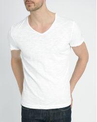 Harris Wilson White V-Neck Rolled Hem Cotton-Jersey T-Shirt - Lyst