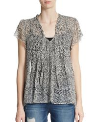 Joie Pebble-print Silk Blouse - Lyst