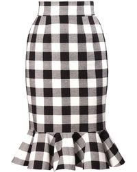 Dolce & Gabbana Vichy Gingham Pencil Skirt - Lyst