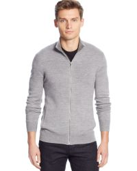 Calvin Klein Merino Wool Wave Ribbed Full-zip Sweater - Lyst