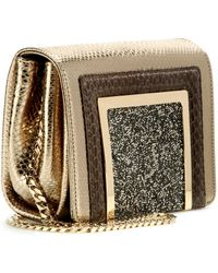 Jimmy Choo Ava Leather And Snakeskin Clutch - Lyst