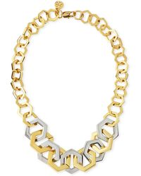 Tory Burch Twotone Metal Hexagon Necklace - Lyst