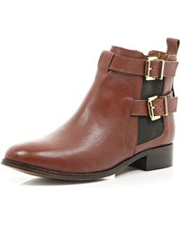 River Island Brown Leather Buckle Trim Ankle Boots - Lyst