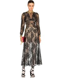Alessandra Rich | Peonia Lace Dress With Gold Macrame Chain | Lyst