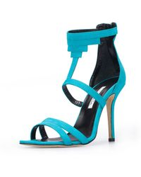 Oscar de la Renta Aqua Leather Simona Sandals - Lyst