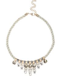 River Island Cream Gem Cluster Rope Necklace - Lyst