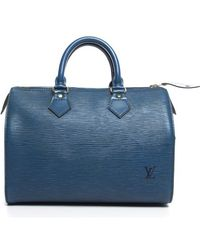 Louis Vuitton Pre-owned Toledo Blue Epi Leather Speedy 25 Bag - Lyst