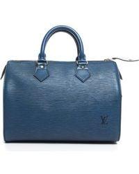 Louis Vuitton Pre-owned Toledo Blue Epi Leather Speedy 25 Bag - Lyst